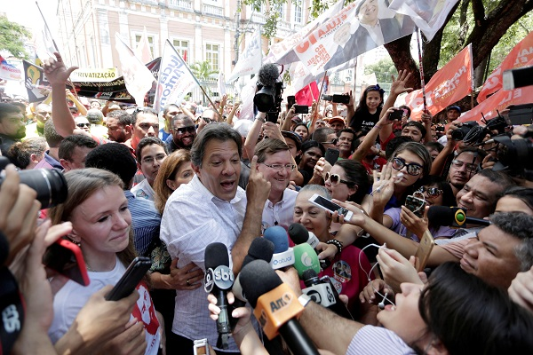 Brazilian presidential candidate Fernando Haddad attends a campaign rally in Manaus, Brazil September 29, 2018.