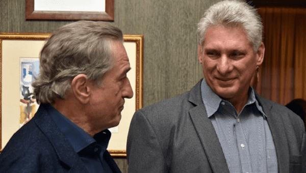 U.S. actor Robert De Niro (L) and Cuban President Miguel Diaz-Canel(R) met in New York on Sept. 28, 2018.