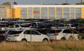 Chevrolet Equinox SUVs await shipment by CN Rail next to the GM CAMI assembly plant in Ingersoll, Ontario, Canada Oct. 13, 2017.