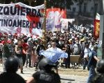 Unions protest in Argentina against Macri's austerity policies.