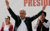 President-elect Andres Manuel Lopez Obrador thanks supporters for his election victory, Mexico City, Sept. 29, 2018.