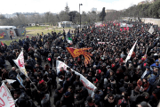 Demonstrators march during an anti-racism rally in Macerata, Italy, February 10, 2018.