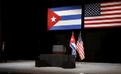 Cuban and U.S. flags set up prior to U.S. President Barack Obama