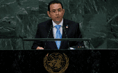 Guatemalan President Jimmy Morales addresses the 73rd session of the U.N. General Assembly in New York, U.S., Sept. 25, 2018.