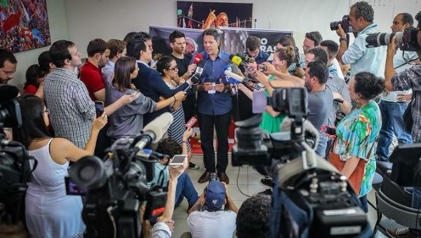 PT candidate Fernando Haddad during a press conference on Thursday.