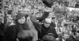 Lluís Companys durante el mitin del Frente Popular celebrado en Madrid para festejar la amnistía decretada.