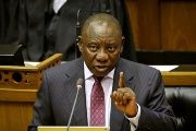 South African President Cyril Ramaphosa speaks in Parliament in Cape Town, South Africa, Feb.20, 2018.