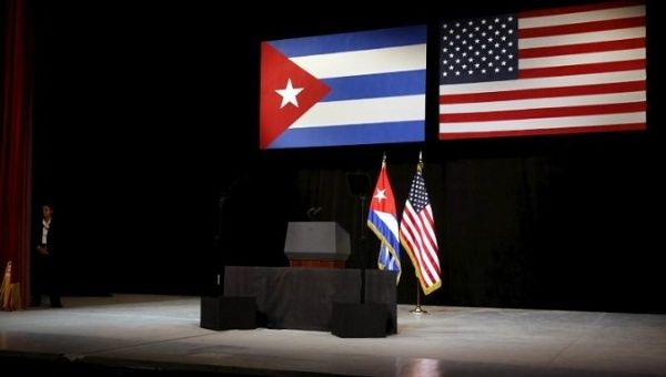 The stage is set with Cuban and U.S. flags before President Obama addresses Cubans from the stage in Havana Mar. 22, 2016.