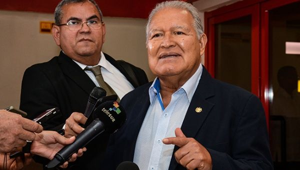 Salvadoran President Salvador Sanchez Ceren addressing the media after arriving in Cuba. October 23, 2018.