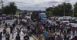 Miembros de la caravana migrante continuaron el sábado su trayecto por el estado de Veracruz (México), hacia su objetivo principal, Estados Unidos.