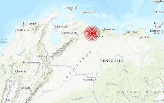 El temblor se sintió con fuerza en la región central  y la capital venezolana.