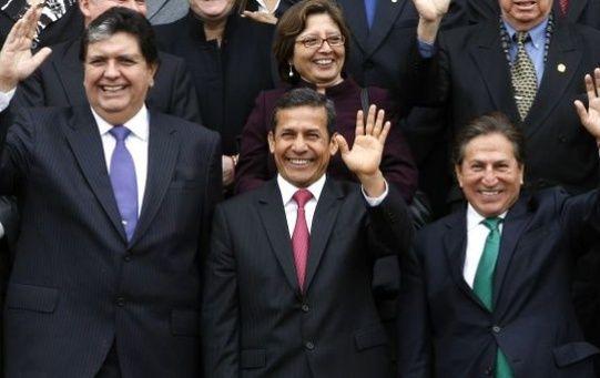 Alan García (i), Ollanta Humala (c) y Alejandro Toledo (d) son tres de los expresidentes vinculados en el caso de corrupción de Lava Jato.