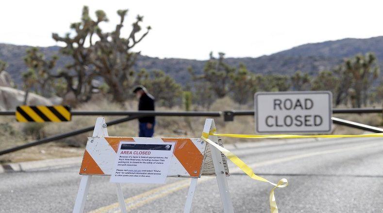 La carretera que accede a Keys View también está cerrada en el Parque Nacional Joshua Tree, California, al igual que todos los centros de visitantes de los Parques Nacionales.