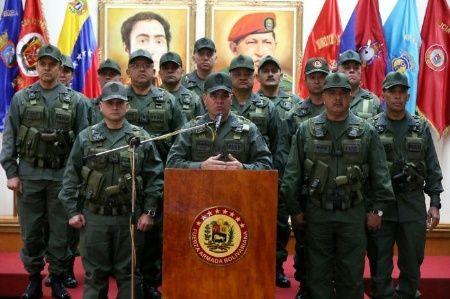 La declaración se produce desde el salón Simón Bolívar del Ministerio para la Defensa, en el Complejo Militar de Fuerte Tiuna, Caracas.