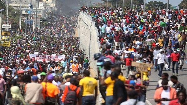 La jornada de protesta coincidió con la conmemoración del segundo año de gobierno de Jovenel Moise.