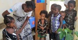 Campaña de vacunación contra el brote de sarampión en Madagascar en enero de 2019.