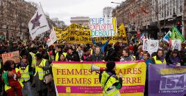 La marcha estuvo encabezada por mujeres, en concordancia al reciente Día Internacional de la Mujer.