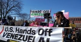 """""""Manos fuera de Venezuela"""" es el llamado mundial que se realizó desde varias ciudades del planeta en solidaridad con el pueblo y el Gobierno venezolano."""