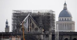 Workers reinforce the north facade of the Notre Dame Cathedral in Paris, France.