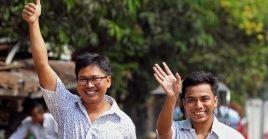 Los periodistas de la agencia Reuters fueron liberados este martes por el gobierno de Myanmar.