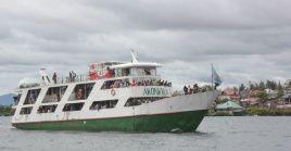 En la imagen de archivo, el barco Akonkwa 1 en el lago Kivu, en la República Democrática del Congo.