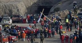 Los mineros estaban atrapados a setenta metros de profundidad tras el colapso de la mina el jueves pasado.