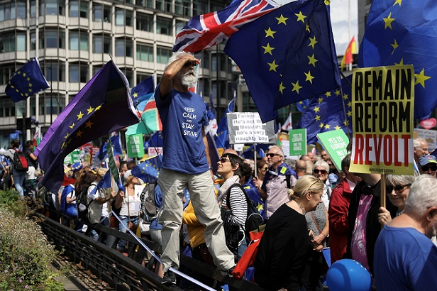 People attend the anti-Brexit 'No to Boris, Yes to Europe' march in London, Britain, July 20, 2019.