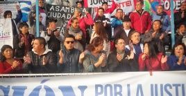 """Libertad, libertad para Jorge Glas"", cantaron los manifestantes este sábado."