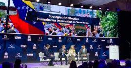 Lilian Tintori, esposa del opositor Leopoldo López, participa en un panel realizado en Nueva York.