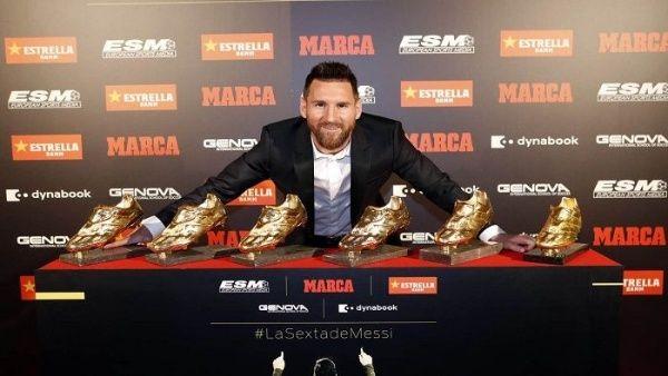 Resultado de imagen para Lionel Messi recibe su sexta Bota de Oro este miércoles