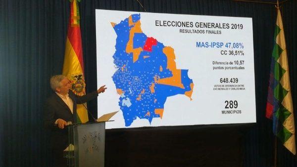 El vicepresidente boliviano señaló que Mesa ya no quiere auditoría ni segunda vuelta, ahora propone anular las elecciones del pasado 20 de octubre.