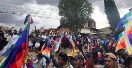 Simpatizantes del presidente de Bolivia, Evo Morales, realizan una manifestación en rechazo al golpe de Estado.