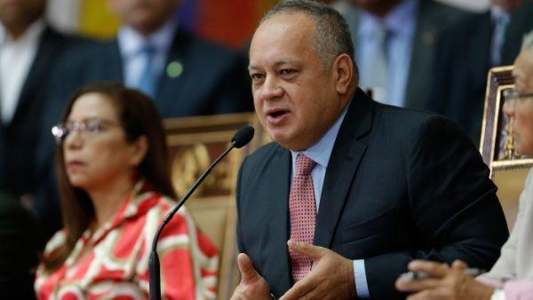 El presidente de la Asamblea Nacional Constituyente (ANC), Diosdado Cabello, ofrece una rueda de prensa en Caracas, Venezuela.