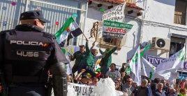 En Mérida los manifestantes saltaron el cordón de seguridad y los policías intervinieron, generando momentos de mucha tensión y varios heridos.