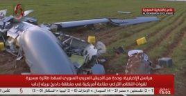Restos de un dron del régimen turco derribado este domingo por el Ejército sirio en Idlib.