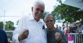 Rafael Cancel Miranda (izq.) militó activamente para exigir la liberación del independentista Oscar López Rivera, a su derecha.