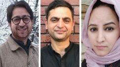 Peerzada Ashiq (L), Gowhar Geelani (C), and Masrat Zahra (R) are all Kashmiri journalists targeted by India's far-right regime.
