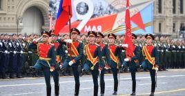 Soldados del regimiento número 154 en la celebración del desfile del Día de la Victoria de 2019.