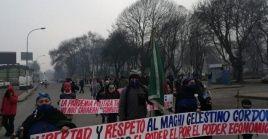 Este lunes cerca de 60 personas realizaron una marcha por las calles de Temuco en apoyo al machi Córdova.