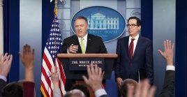 Mike Pompeo indicó que su país decidió reanudar las sanciones contra Irán, debido al incumplimiento por parte del país persa del pacto nuclear de 2015.