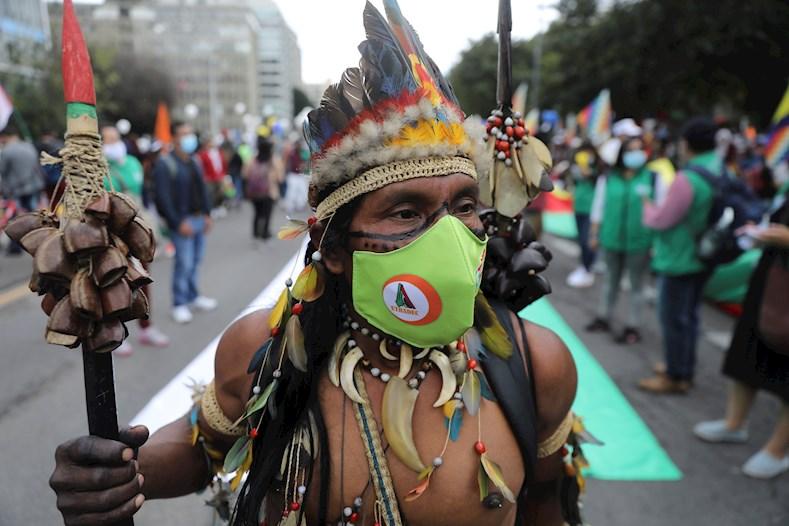 La Minga social en Bogotá se unió al paro nacional que se registra este miércoles en Colombia con el objetivo de