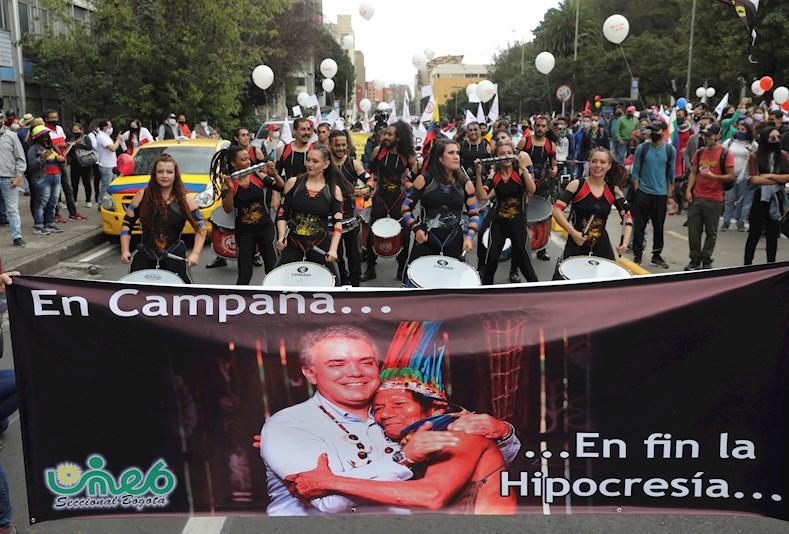En las protestas se condena la gestión del presidente Iván Duque y los decretos de emergencia expedidos durante la pandemia de la Covid-19.