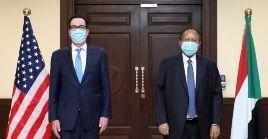 El secretario del Tesoro, Steven Mnuchin, se entrevistó con el primer ministro sudanés, Abdulla Hamdouk.