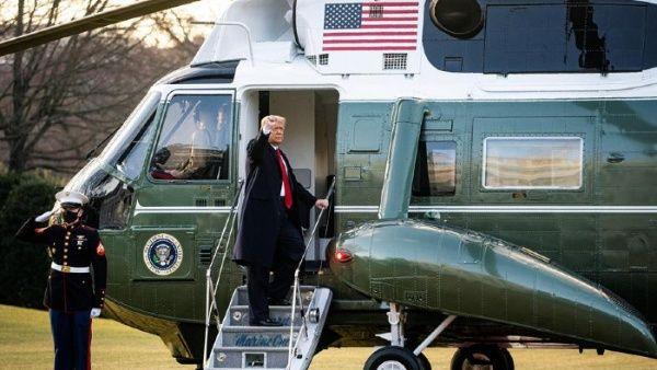 Trump abandona la Casa Blanca diciendo: «Nos volveremos a ver»