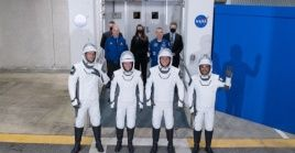 Astronauts pose for a group photo before they board the Crew Dragon spacecraft at NASA's Kennedy Space Center in Cape Canaveral of Florida, the United States, April 23, 2021.