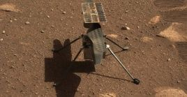 Image taken by cameras aboard NASA's Perseverance rover on Mars, April 5, 2021 shows Mars helicopter Ingenuity.