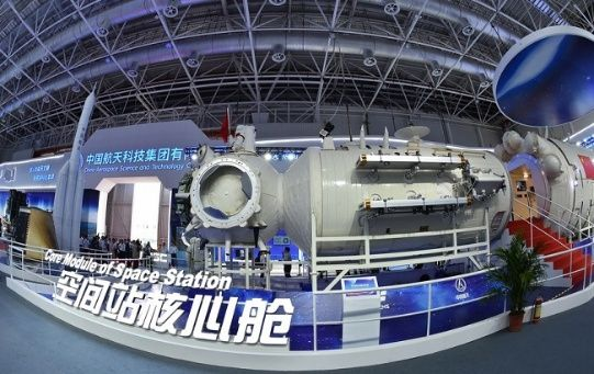 Full-size model of the core module of space station Tianhe, Zhuhai, China, Nov. 5, 2018.
