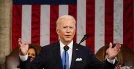 """En su dicurso por cien días de presidencia Biden habló de """"diplomacia y férrea disuasión""""."""