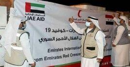 El cargamento incluye dosis de vacunas anticovid e insumos médicos ofrecidos por la Media Luna Roja de los Emiratos Árabes Unidos.