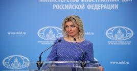 """La vocera de la Cancillería rusa, María Zajárova, llamó a """"evaluar la situación con seriedad y sin emoción alguna""""."""